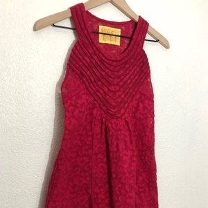 Free People red lace sleeveless collared t…